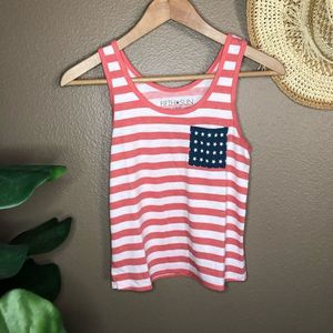Red white blue American flag tank top